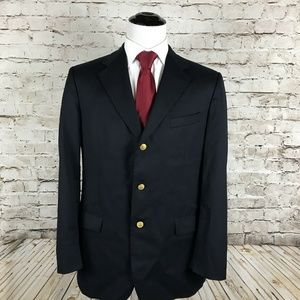 Brooks Brothers Navy Blue Gold Metal Button Blazer